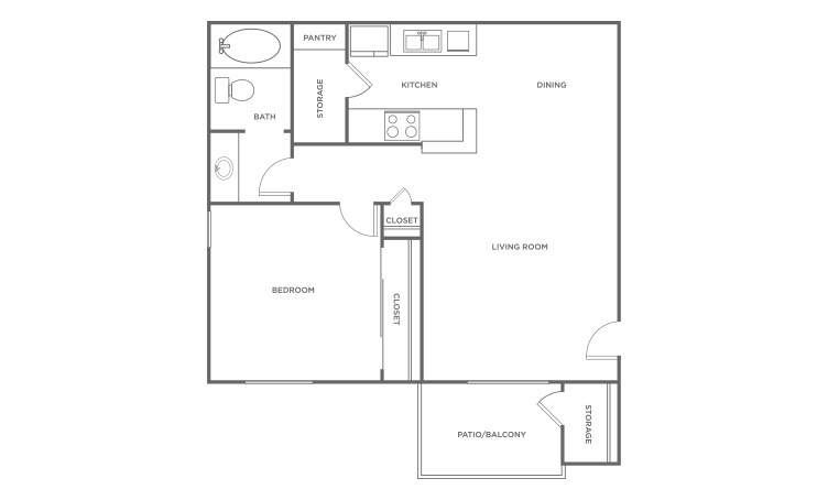 The Redwood - 1 bedroom floorplan layout with 1 bath and 618 square feet