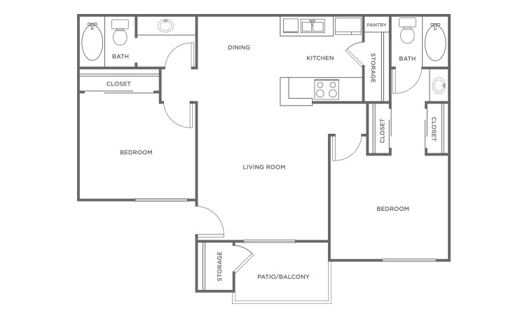 The Cedar - 2 bedroom floorplan layout with 2 bath and 838 square feet